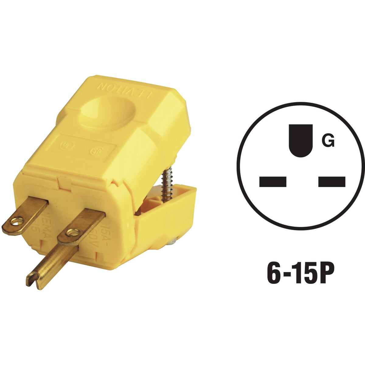 15A YEL NYLON CORD PLUG - 021-15656 by Leviton Mfg Co
