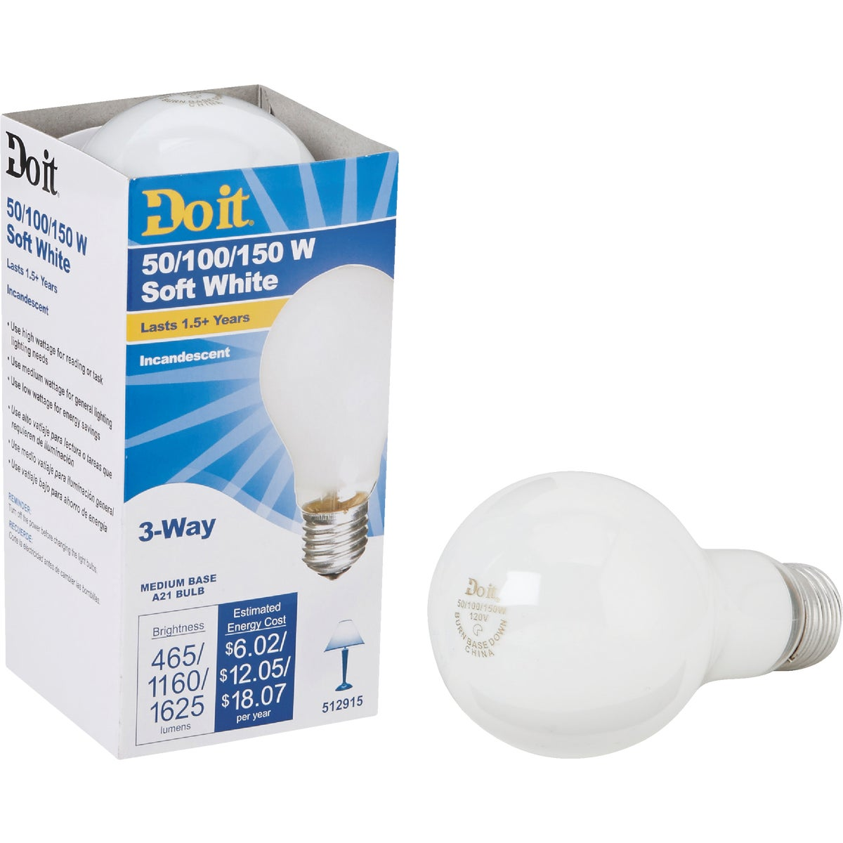 50-150W SW 3-WAY BULB - 97455 50/150-DIB by G E Private Label