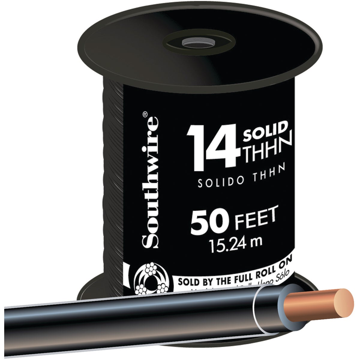 50' 14SOL BLK THHN WIRE - 11579041 by Southwire Company