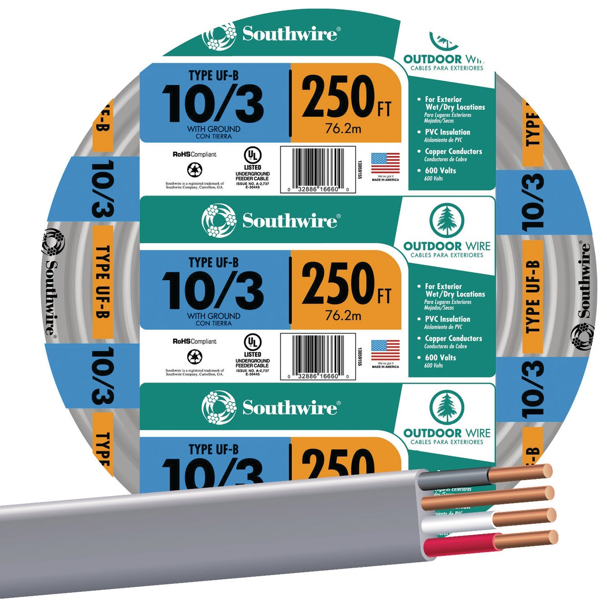 250' 10-3 UFW/G WIRE - 13059155 by Southwire Company