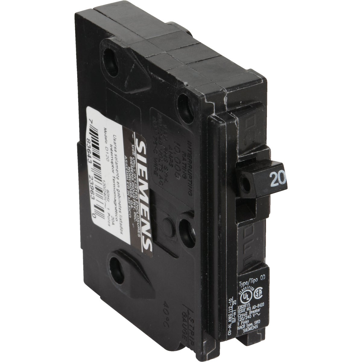 20A SP CIRCUIT BREAKER - D120 by Connecticut Electric
