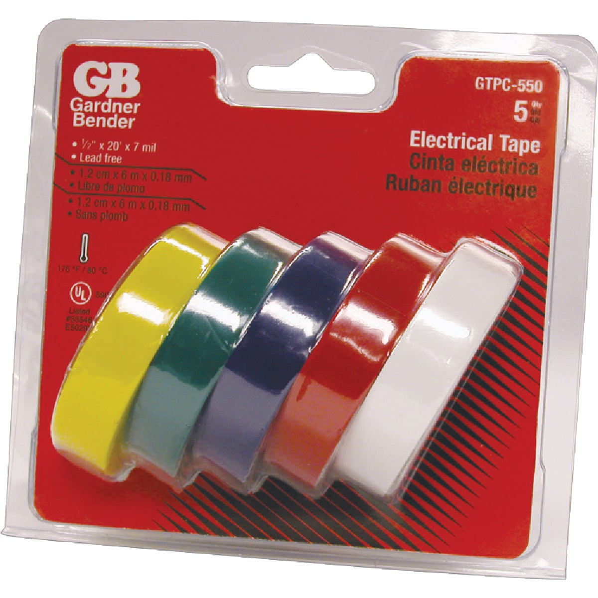 5PK COLR ELECTRICAL TAPE - GTPC-550 by G B Electrical Inc