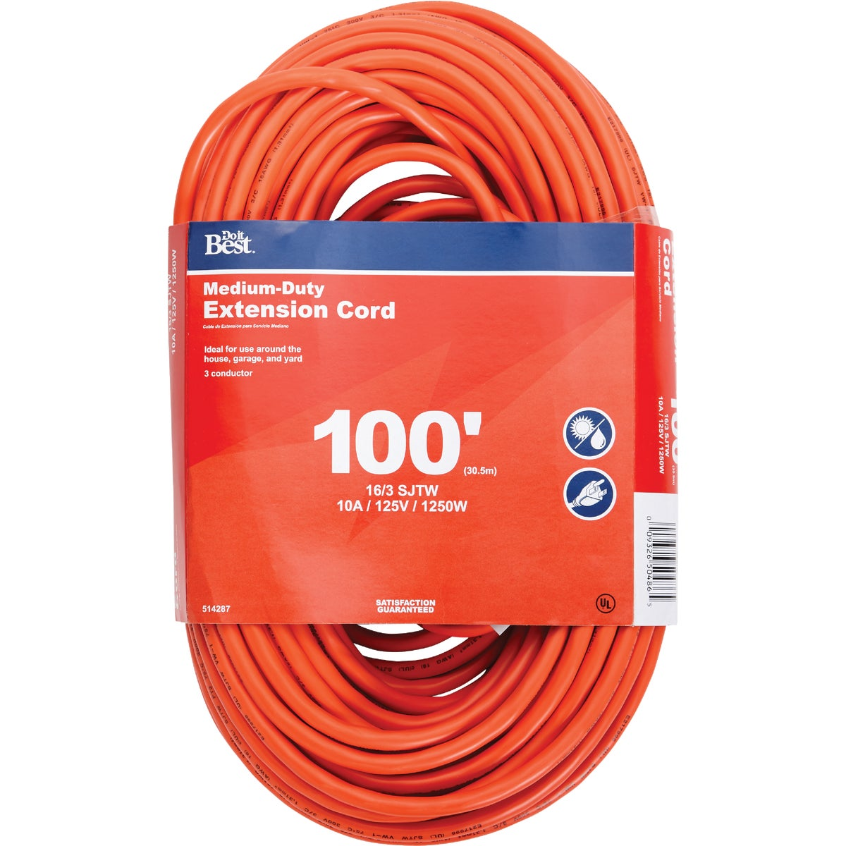 100'16/3 ORANGE EXT CORD