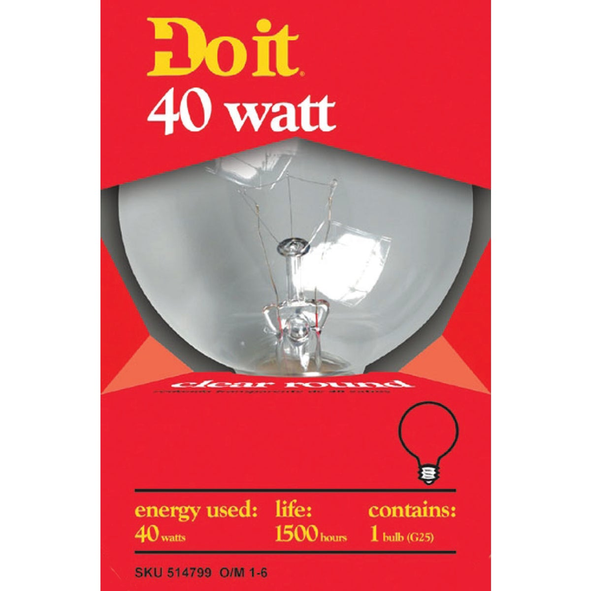 40W CLR 3-1/8GLOBE BULB - 17859 40G25-DIB by G E Private Label