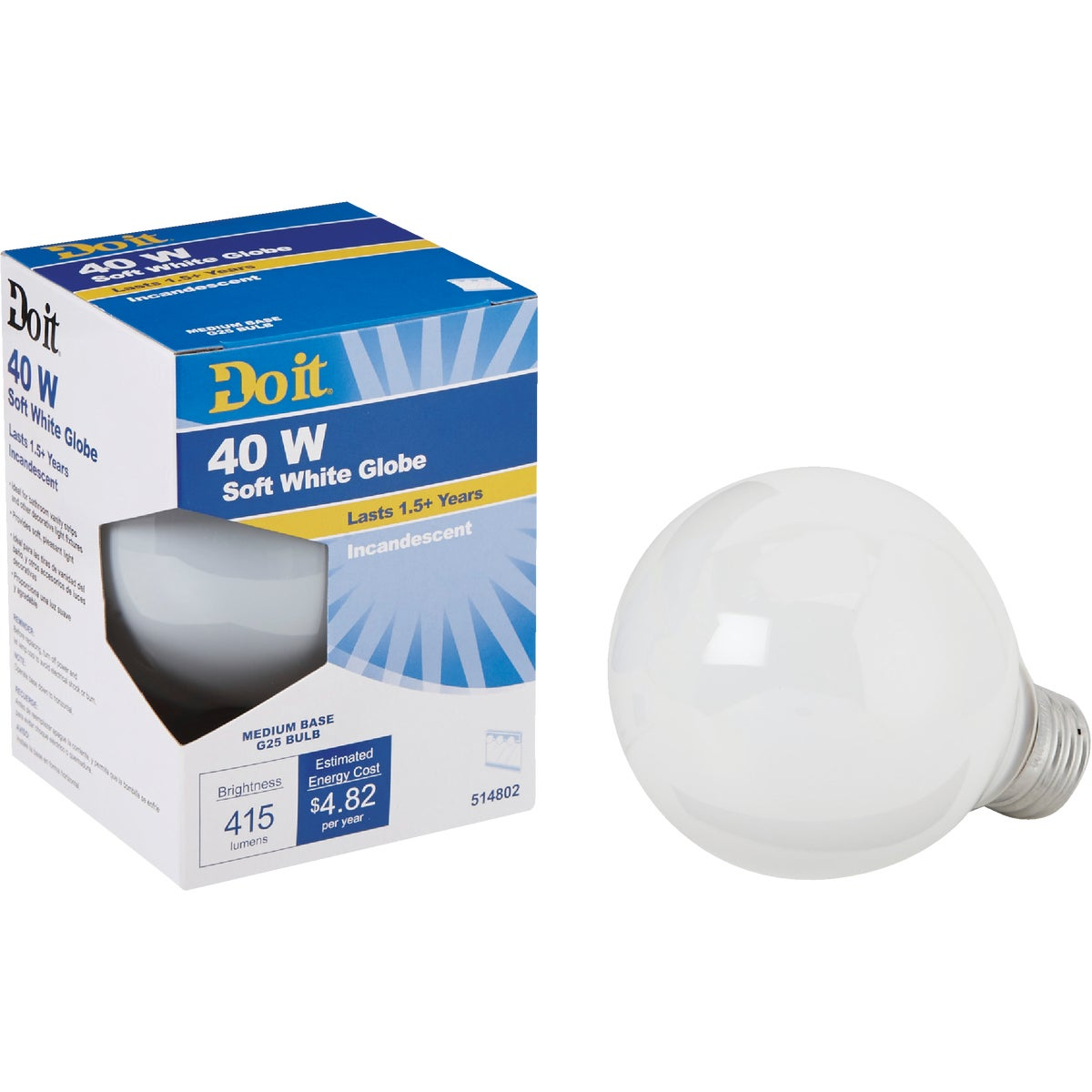 40W WHT 3-1/8GLOBE BULB - 17865 40G25/W-DIB by G E Private Label