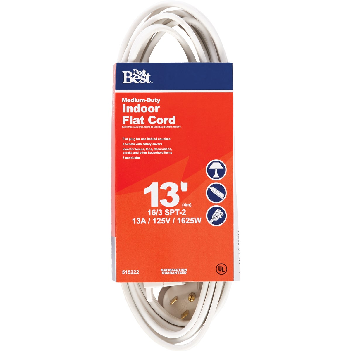 13' 16/3 WHITE FLAT CORD - 552232 by Coleman Cable Import