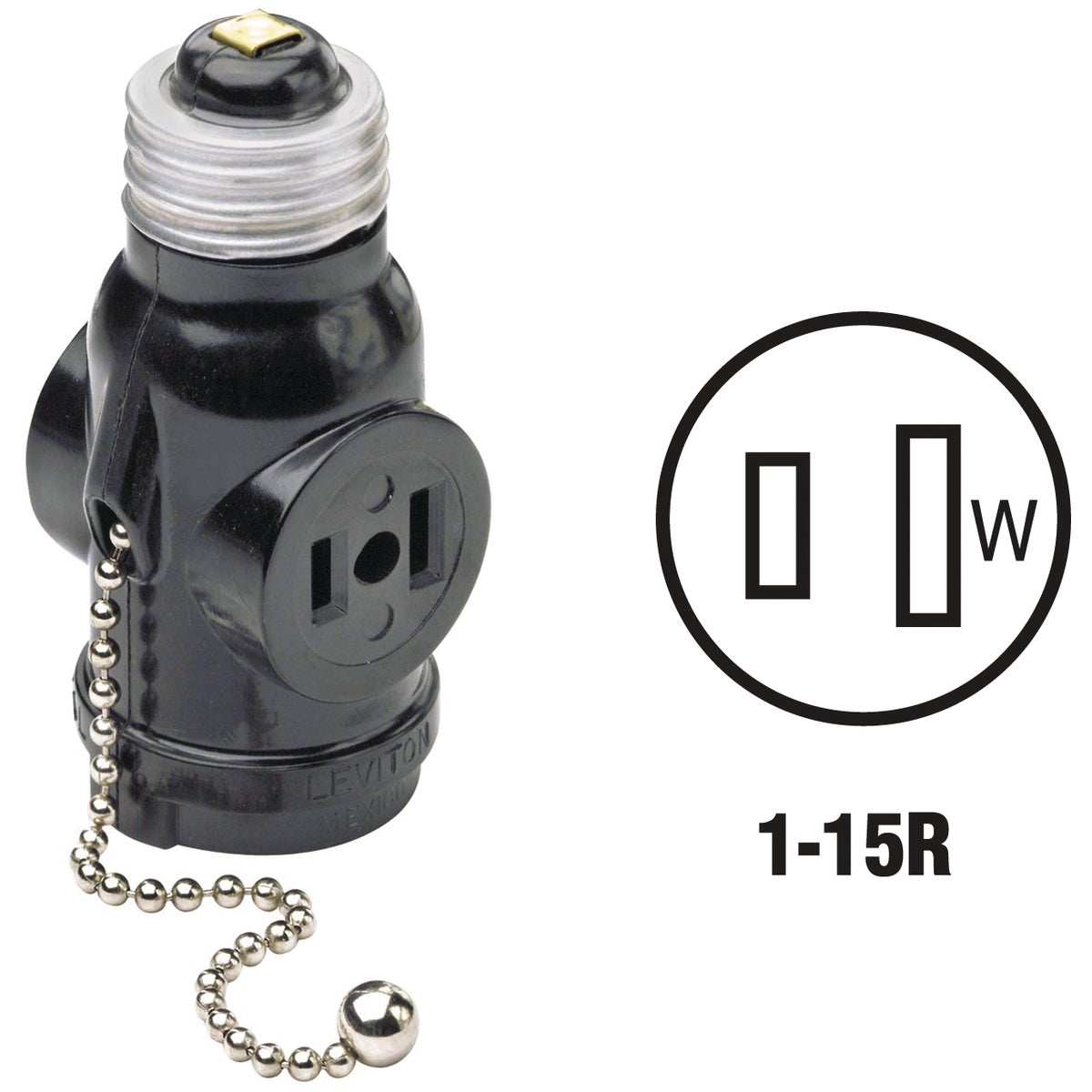 BLK SOCKET ADAPTER - 1406 by Leviton Mfg Co