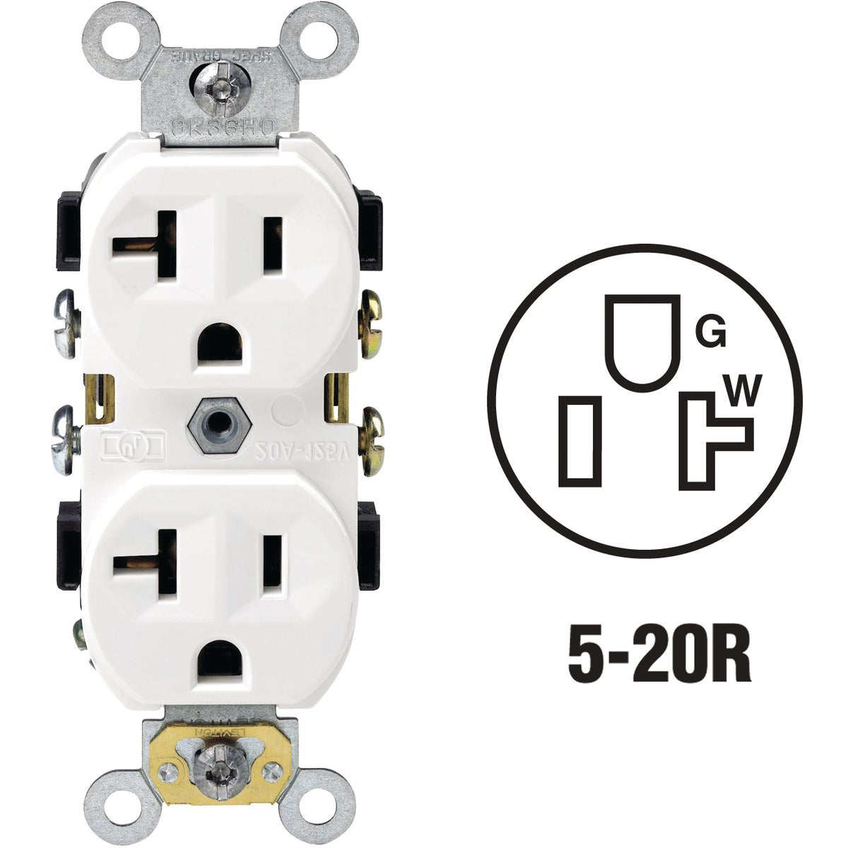 WHITE 20A OUTLET - BR20-00W by Leviton Mfg Co