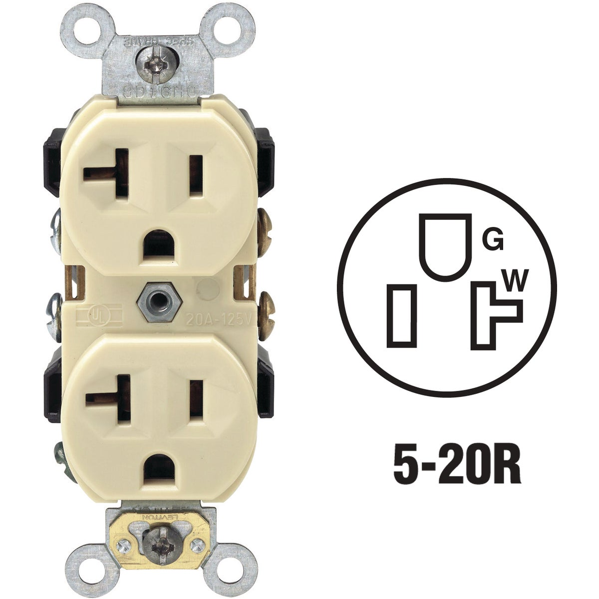 20A IVORY OUTLET - BR20-00I by Leviton Mfg Co