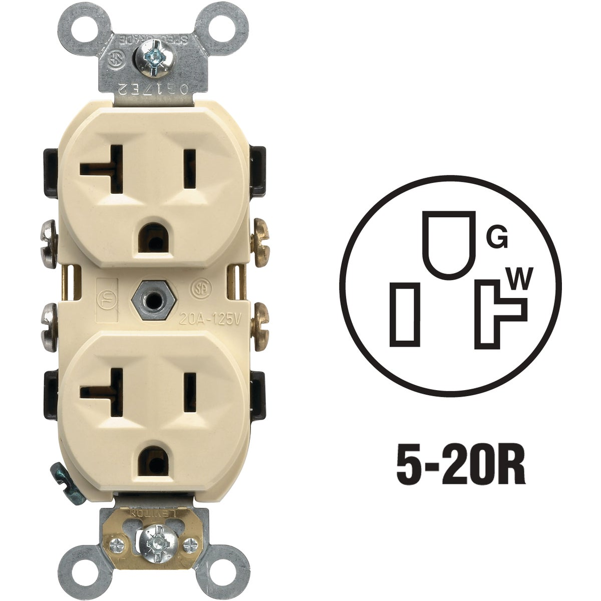 IVORY DUPLEX OUTLET - S01-CR20-IS by Leviton Mfg Co