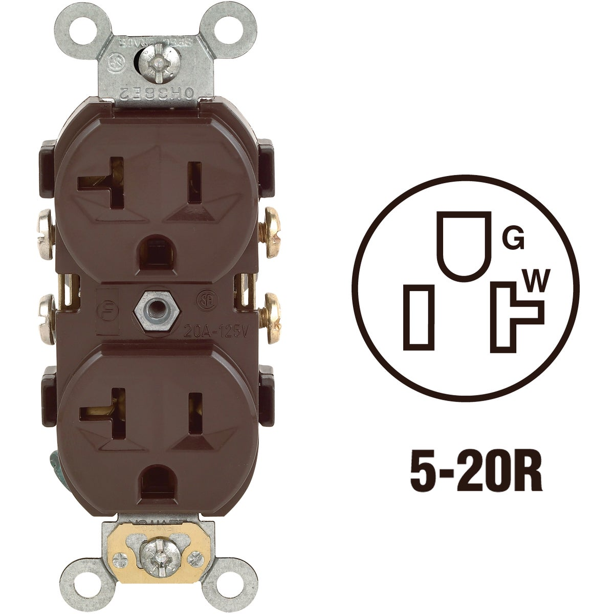 BRN DUPLEX OUTLET - S00-CR20-00S by Leviton Mfg Co