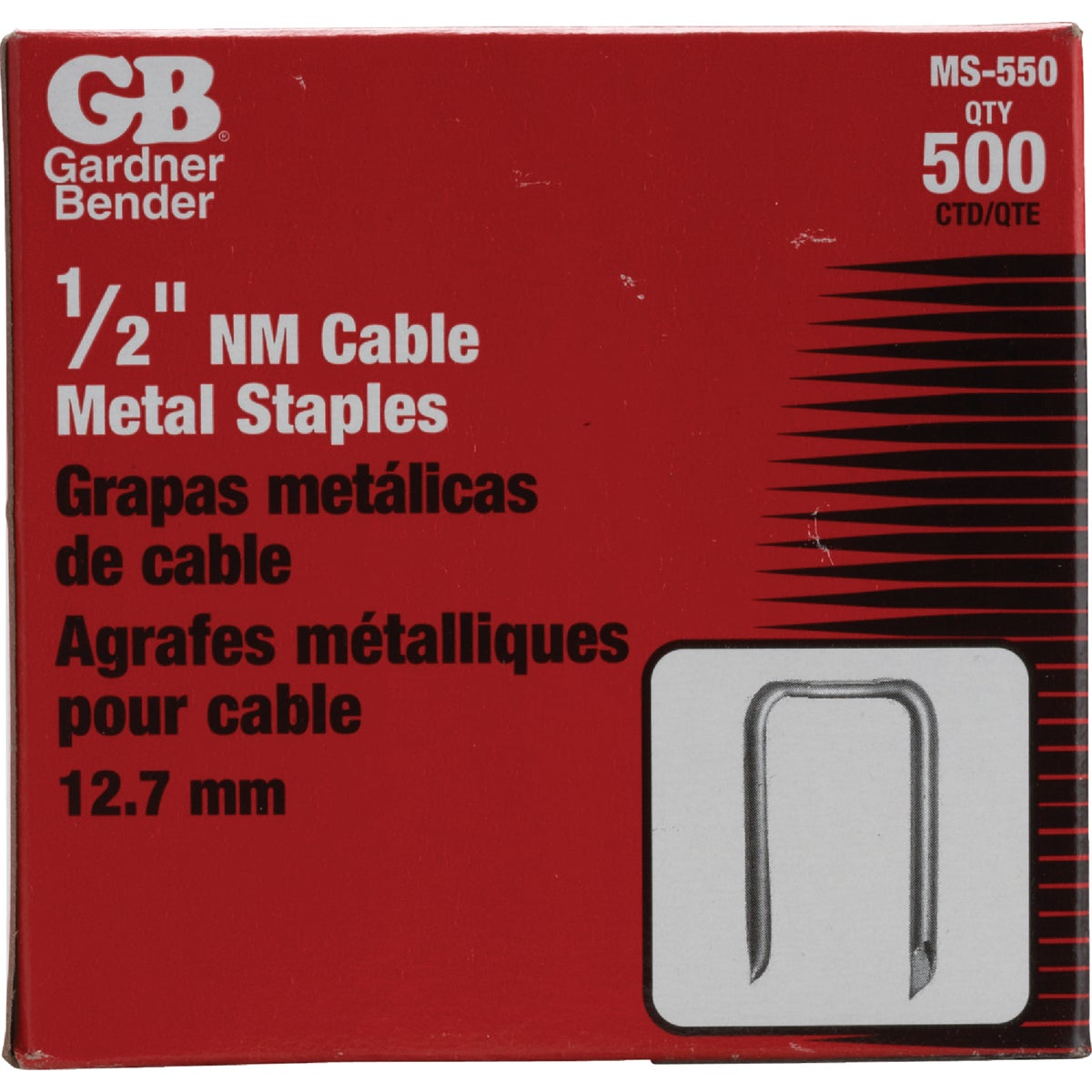 "500PK 1/2"" METAL STAPLE - MS-550 by G B Electrical Inc"