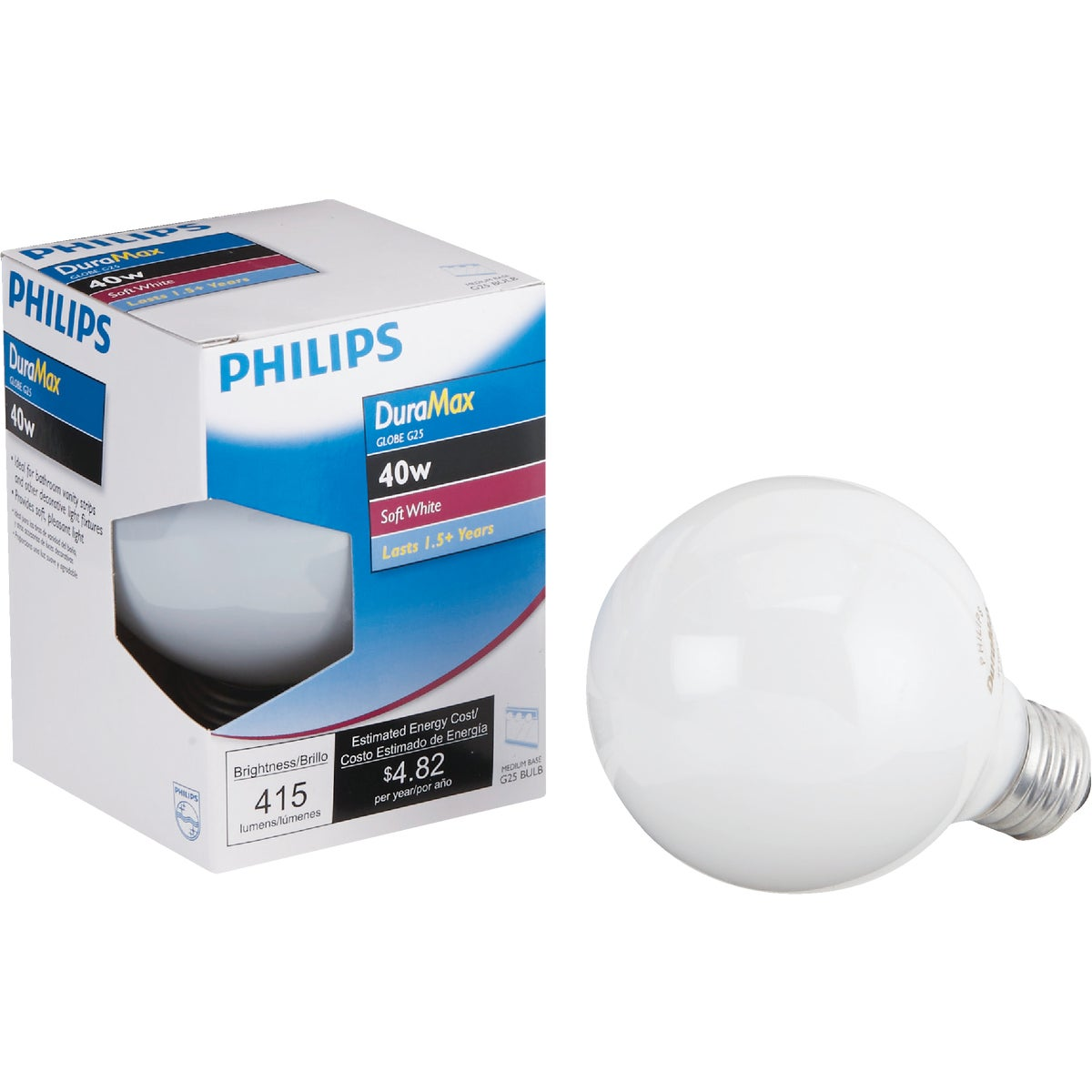 40W WHT 2-1/16GLOBE BULB - 44414 40GC/W by G E Lighting