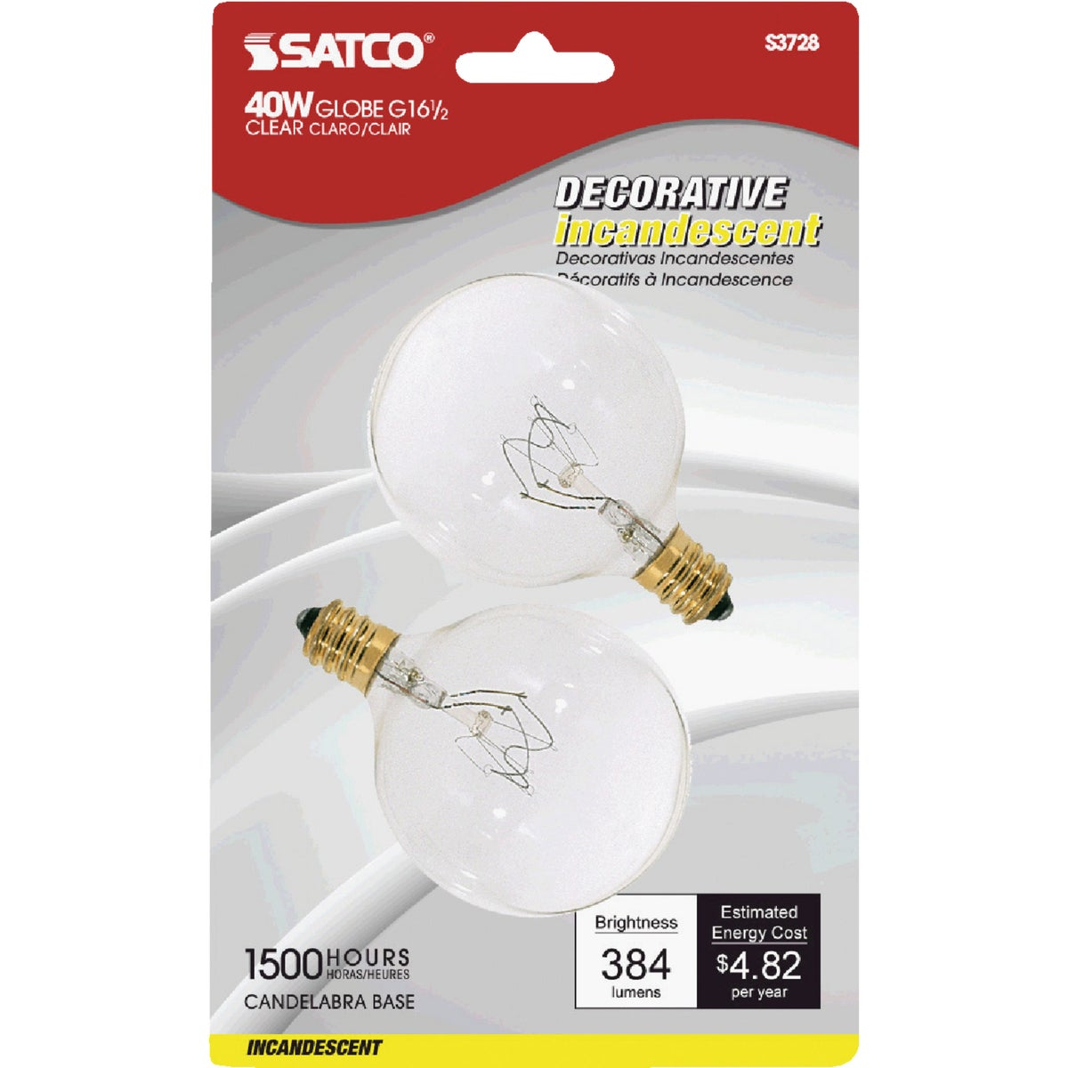 40W CLR 2-1/16GLOBE BULB - 17730 by G E Lighting