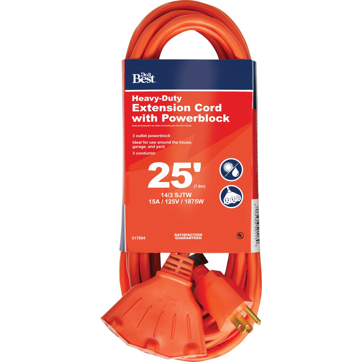 25' 14/3 TRIPLE TAP CORD - 550825 by Coleman Cable Import