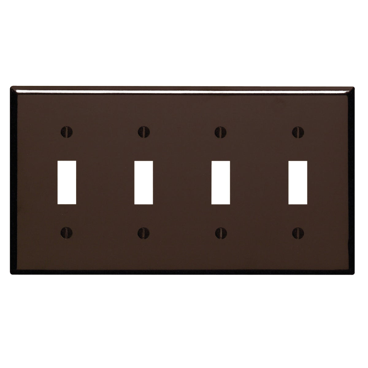 BRN 4-TOGGLE WALL PLATE - 85012 by Leviton Mfg Co