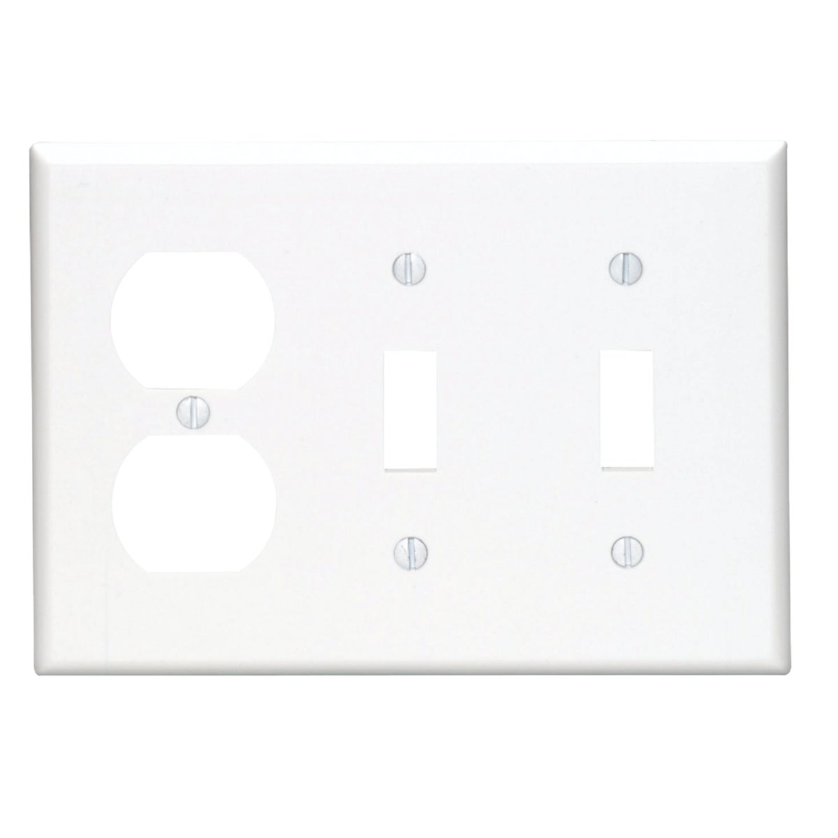 WHT 2TOGL/OUT WALL PLATE