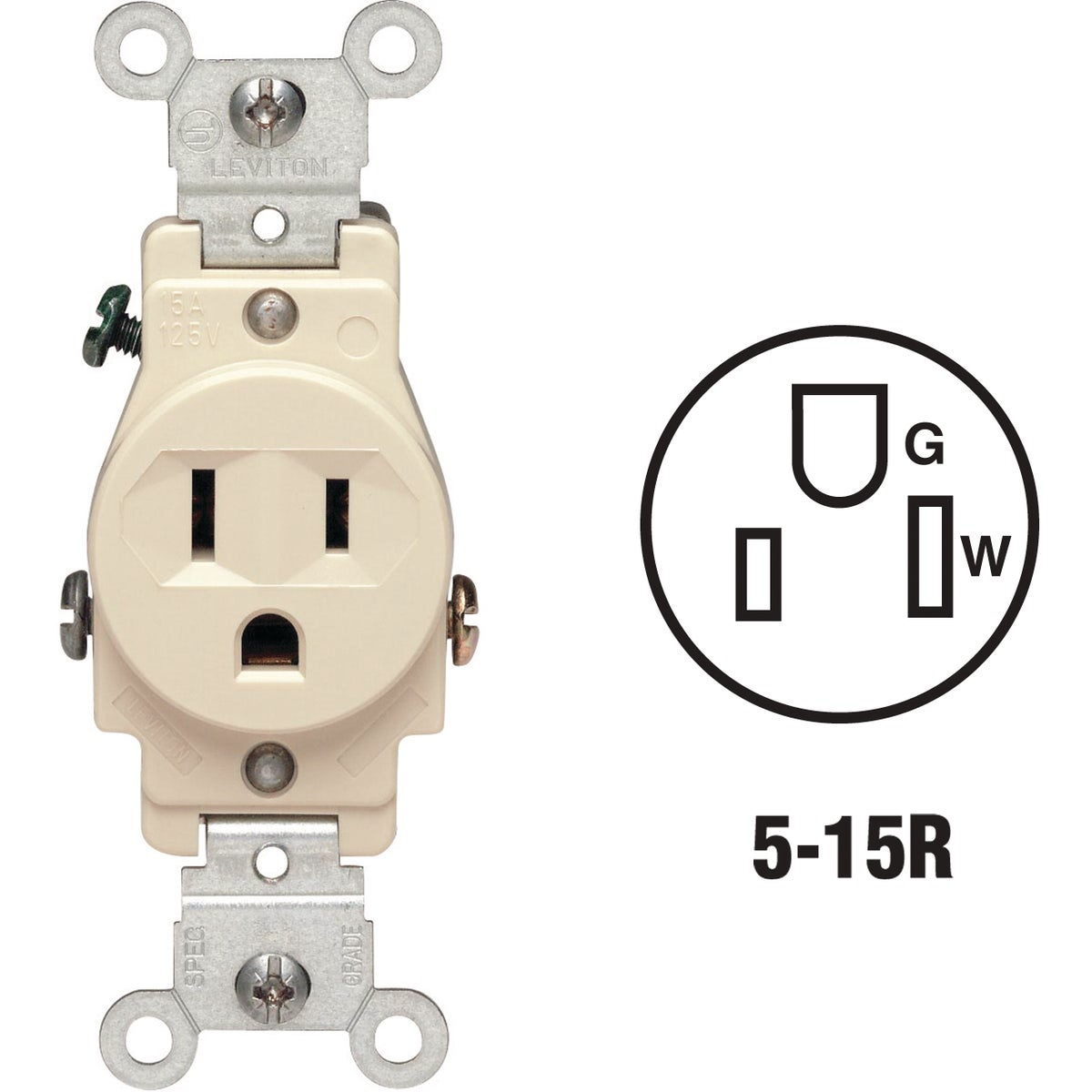 IV SINGLE OUTLET - S01-5015-KIS by Leviton Mfg Co