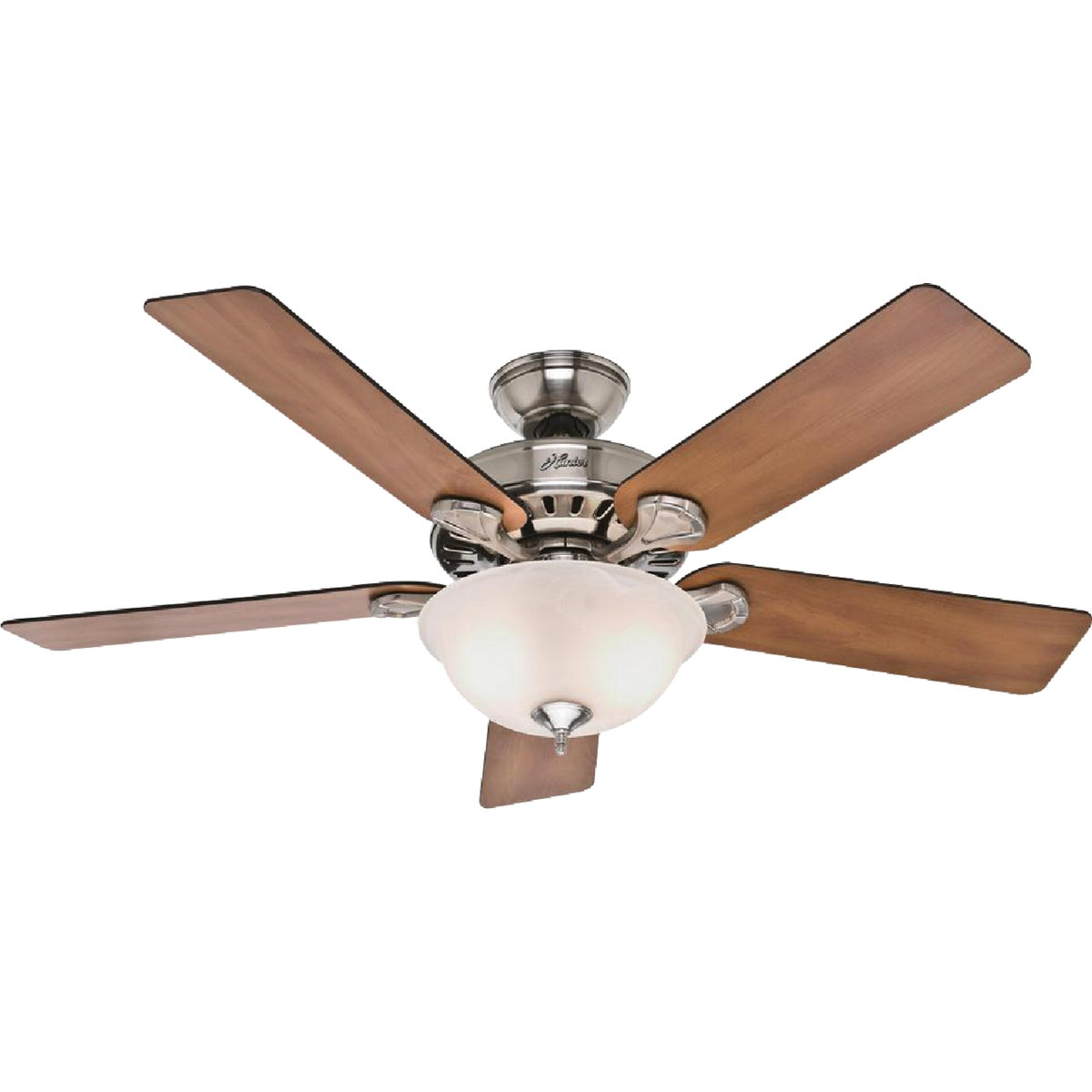 "52"" BR NICKEL FAN W/LT - 53249 by Hunter Fan Co"