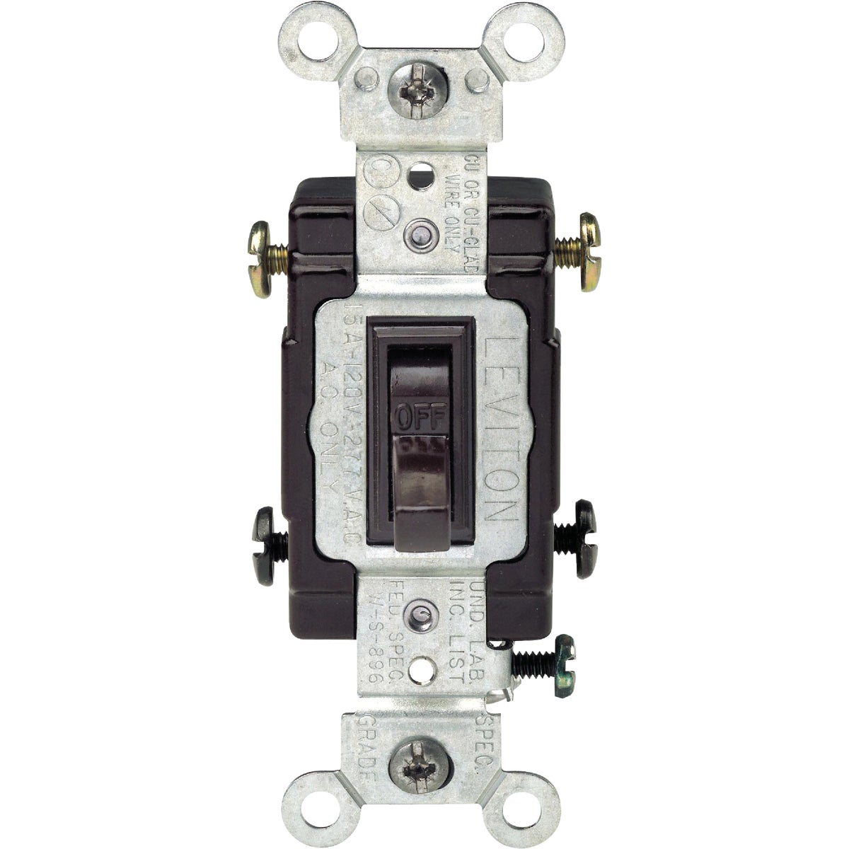 BRN 2-POLE GRND SWITCH - S15-CS220-2WS by Leviton Mfg Co