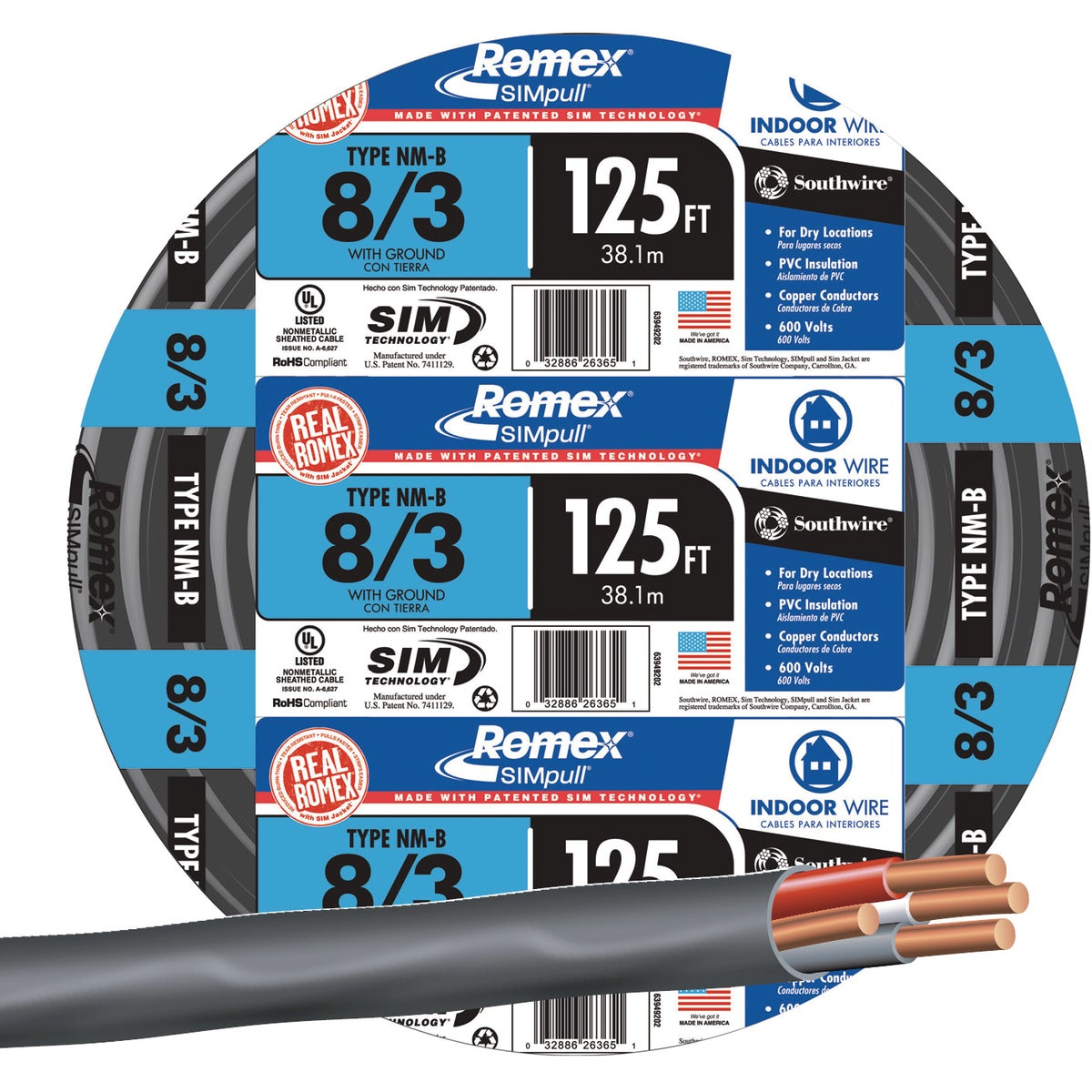 125' 8-3 NMW/G WIRE - 63949202 by Southwire Company