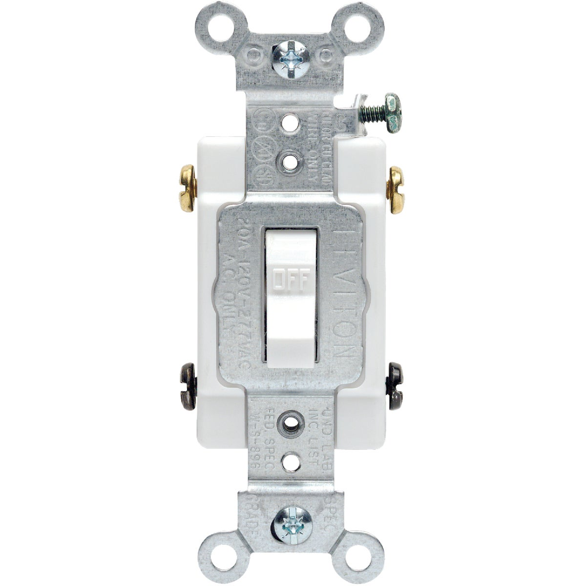 WHT 2-POLE GRND SWITCH - S04-CS220-2WS by Leviton Mfg Co