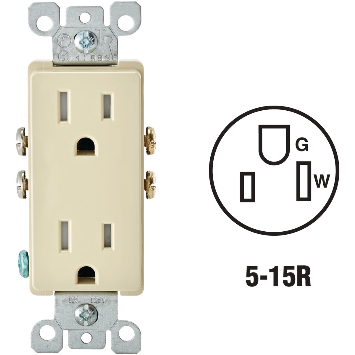 IV DUPLEX DECO TAMPER - R58-T5325-00I by Leviton Mfg Co