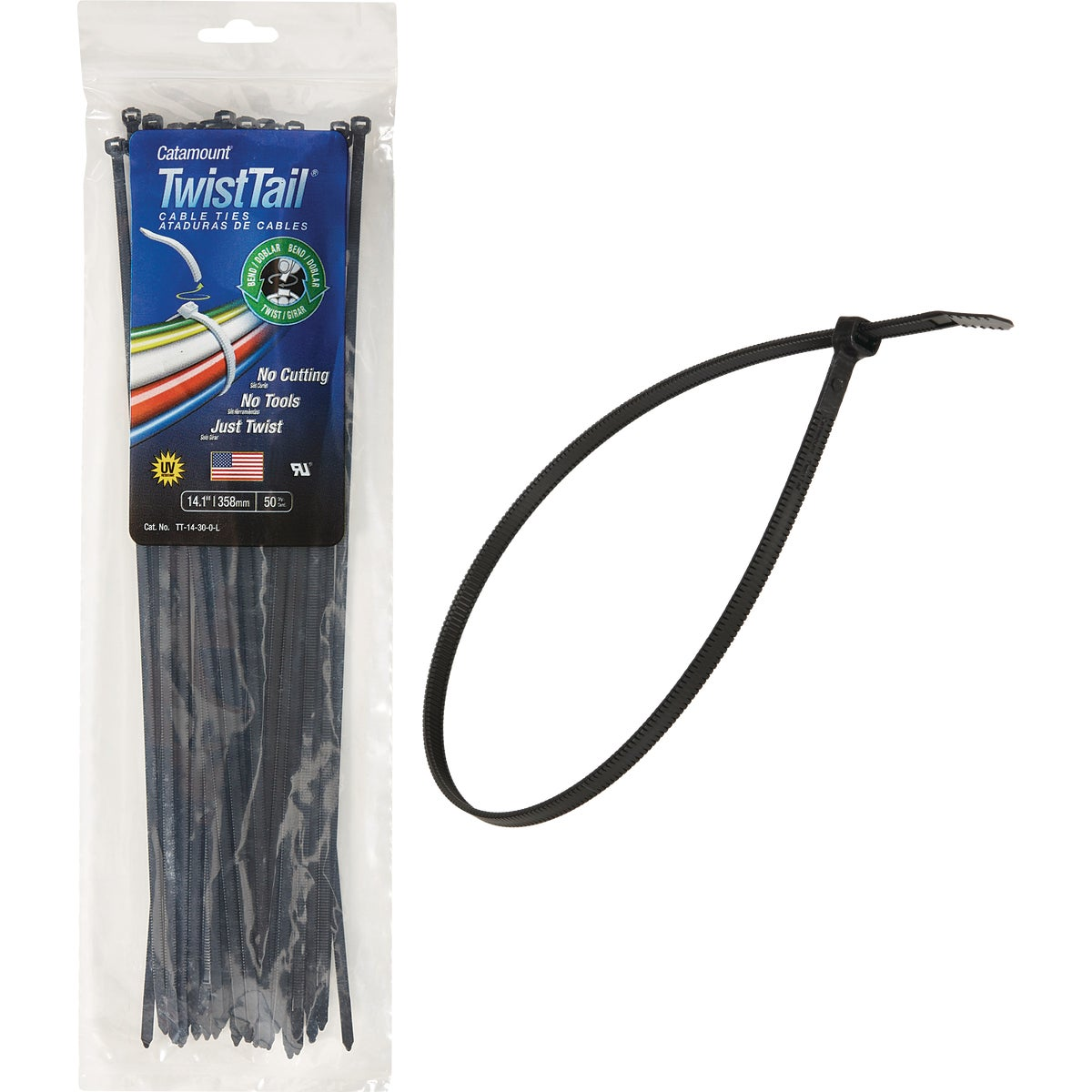 "50PC 14"" BLK TWIST TIE - TT-14-30-0-L by Thomas & Betts"