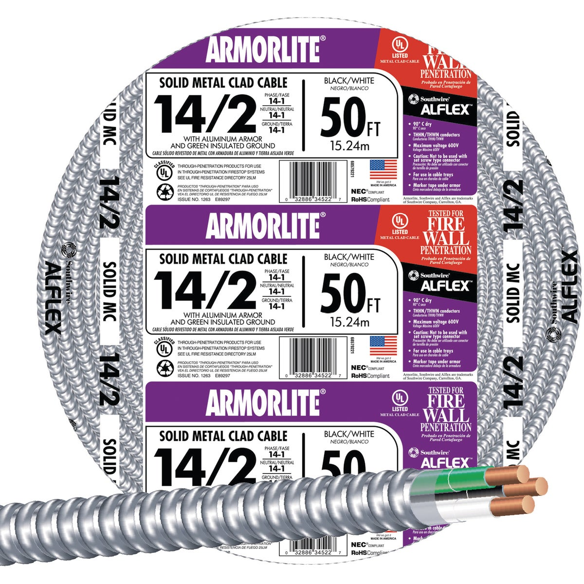 50' 14/2 MC ALUM CABLE - 68579222 by Southwire Company