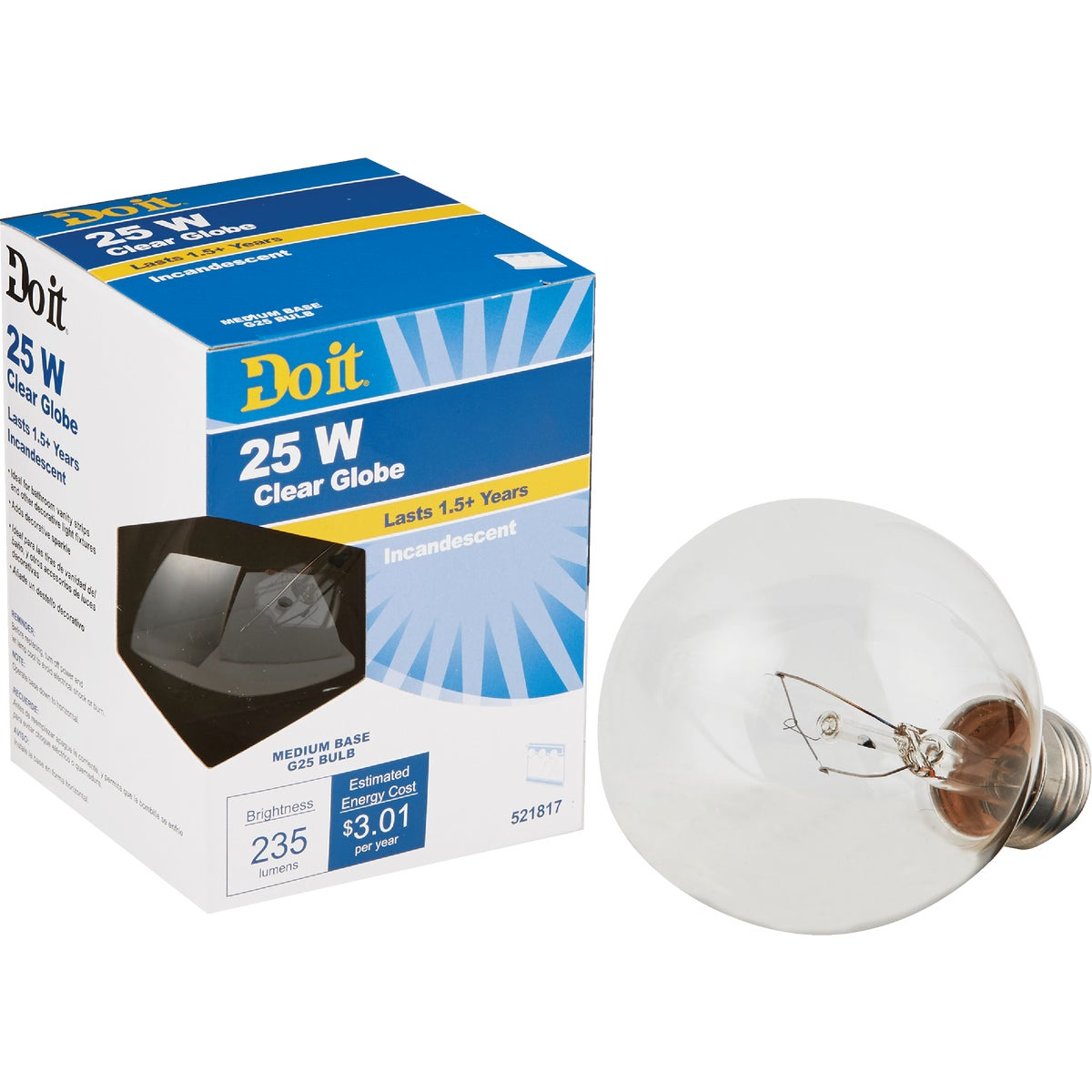 25W CLR 3-1/8GLOBE BULB - 17849 25G25-DIB by G E Private Label