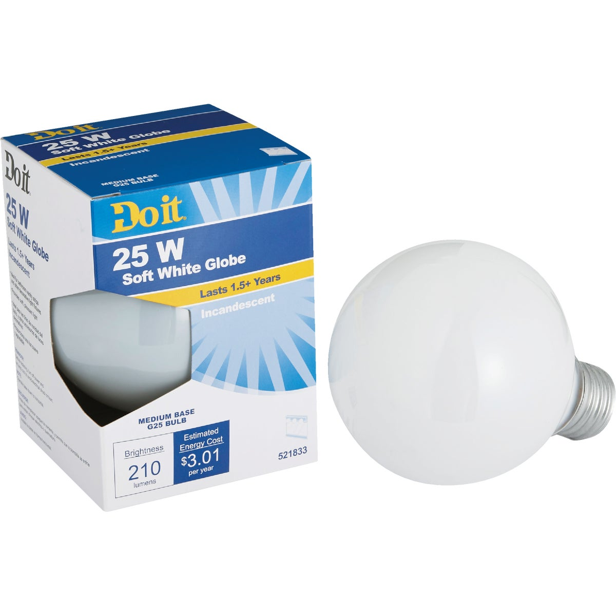 25W WHT 3-1/8GLOBE BULB - 17855 25G25/W-DIB by G E Private Label