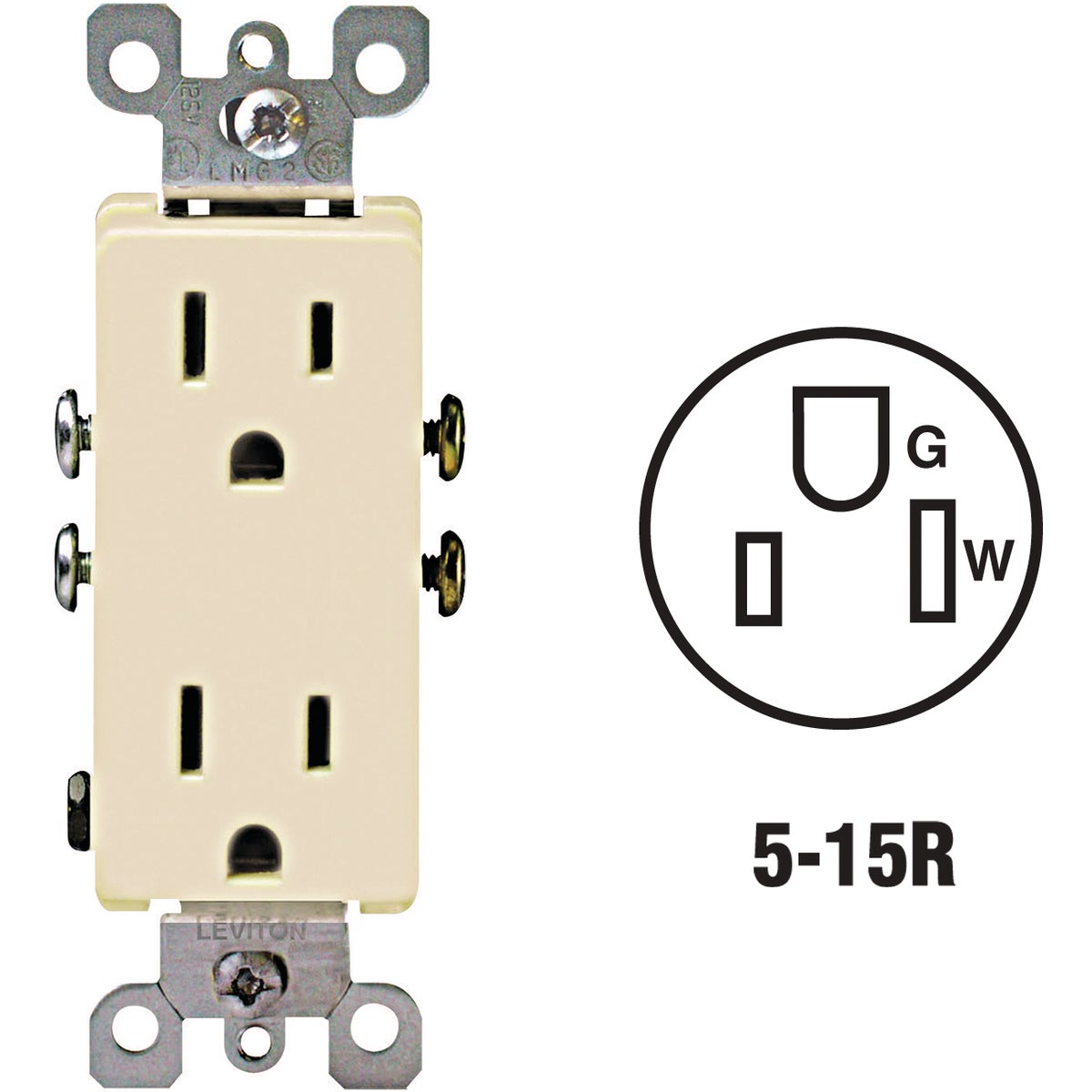 IVORY DUPLEX OUTLET - S01-05325-ISP by Leviton Mfg Co