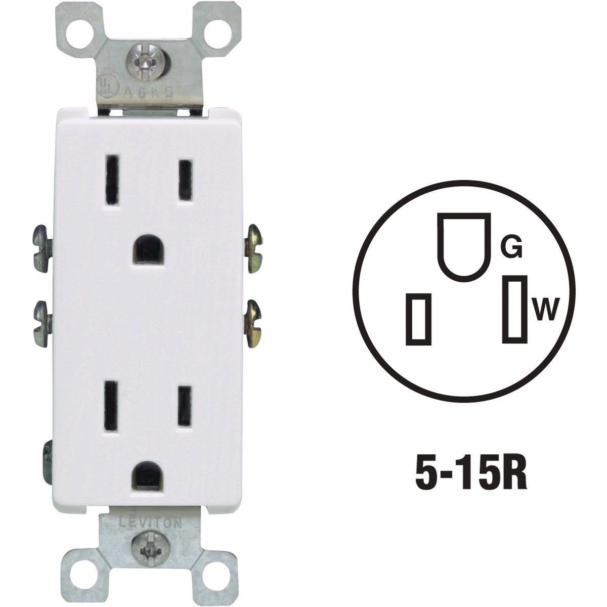 WHITE DUPLEX OUTLET - S02-05325-OWS by Leviton Mfg Co