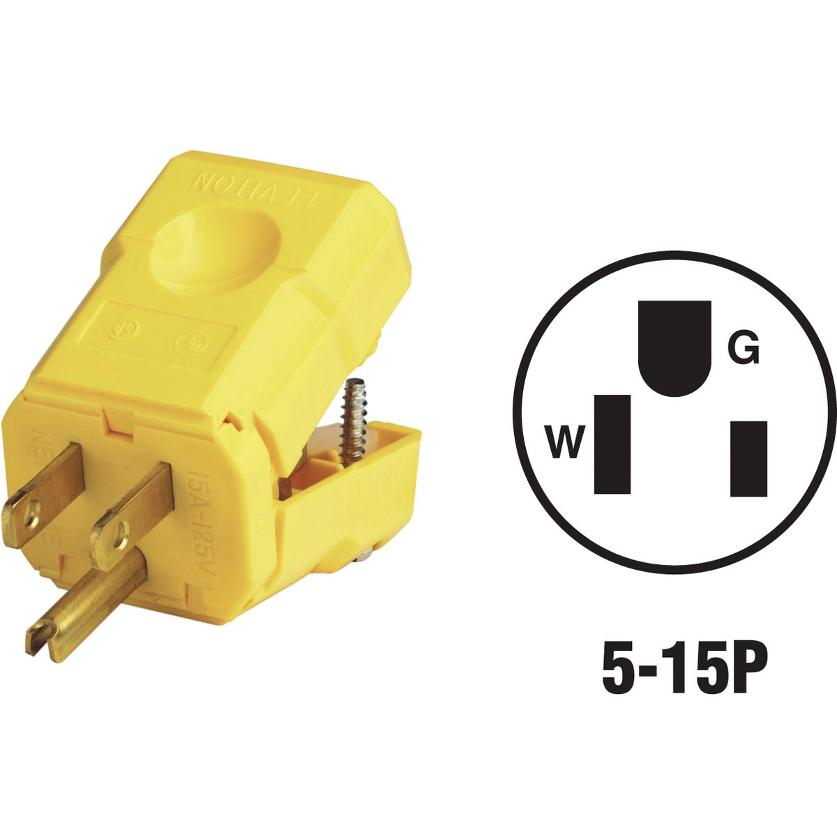 15A YEL NYLON CORD PLUG - 5256VY by Leviton Mfg Co