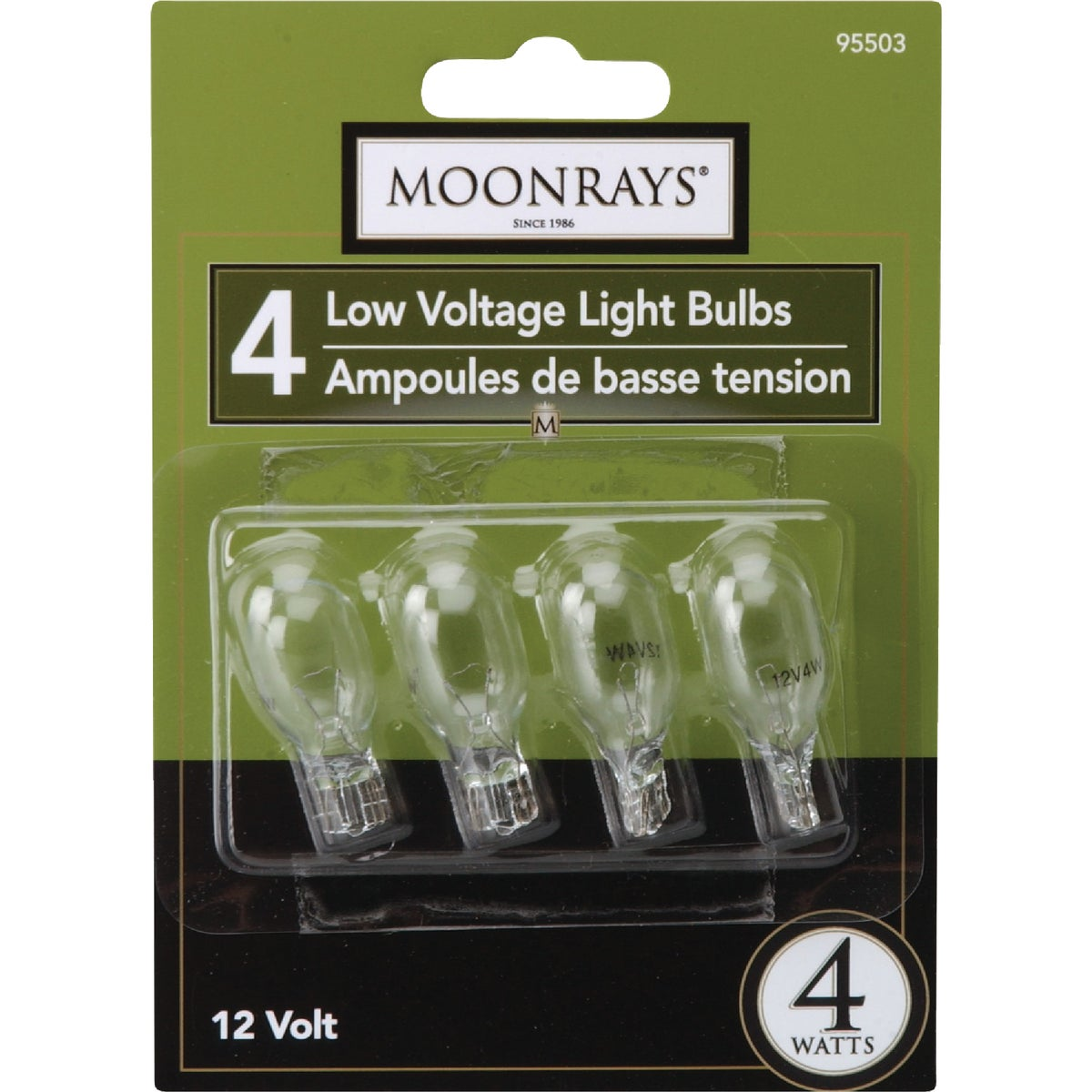 4W WDG BASE 4PK CLR BULB - 95503 by Woods Wire Coleman