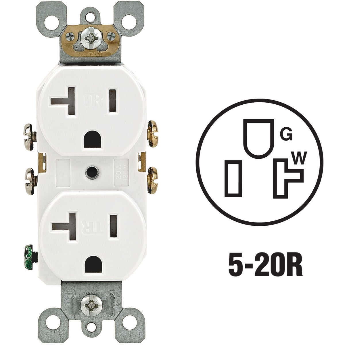 20A WHITE TAMP RES RECEP - S02-T5820-0WS by Leviton Mfg Co