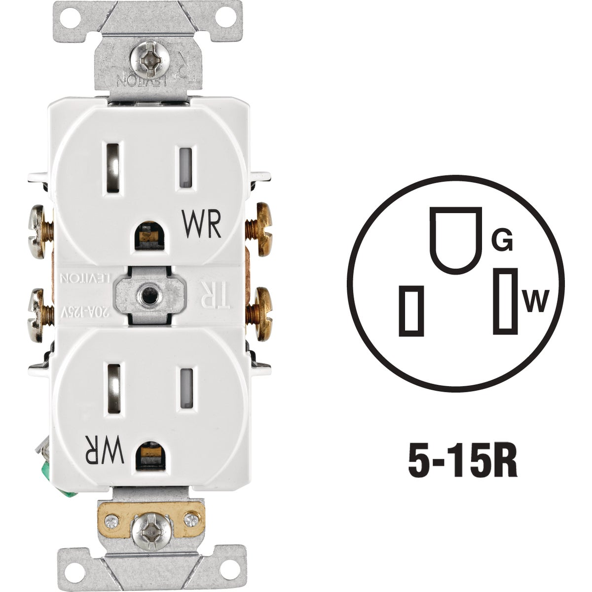 WHI 15A TR WEATHRPRF REC - S02-TWR15-W by Leviton Mfg Co