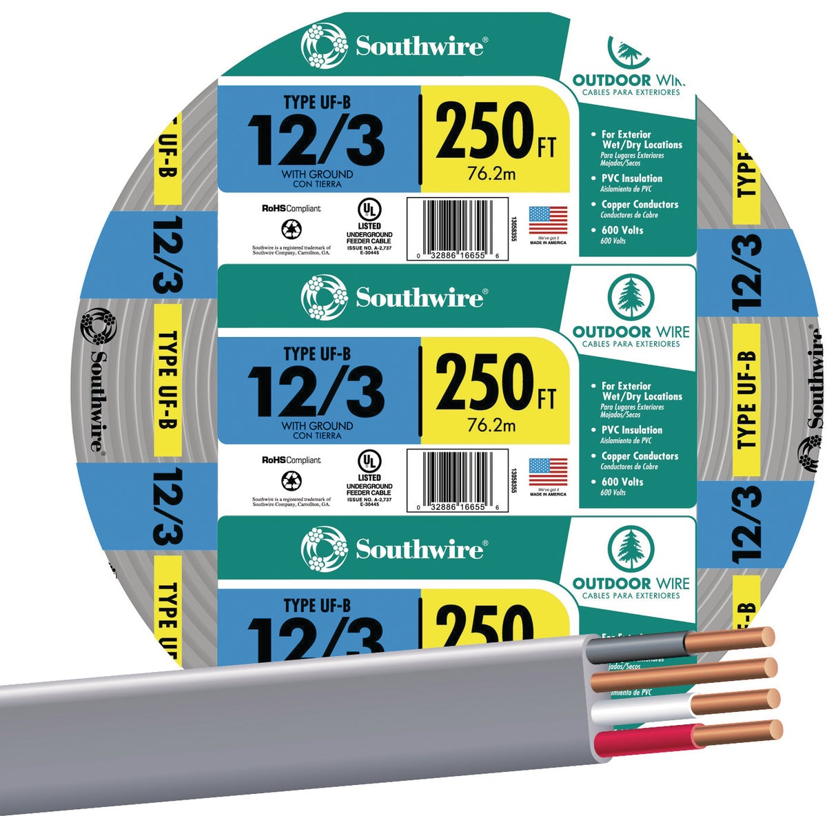 250' 12-3 UFW/G WIRE - 13058355 by Southwire Company