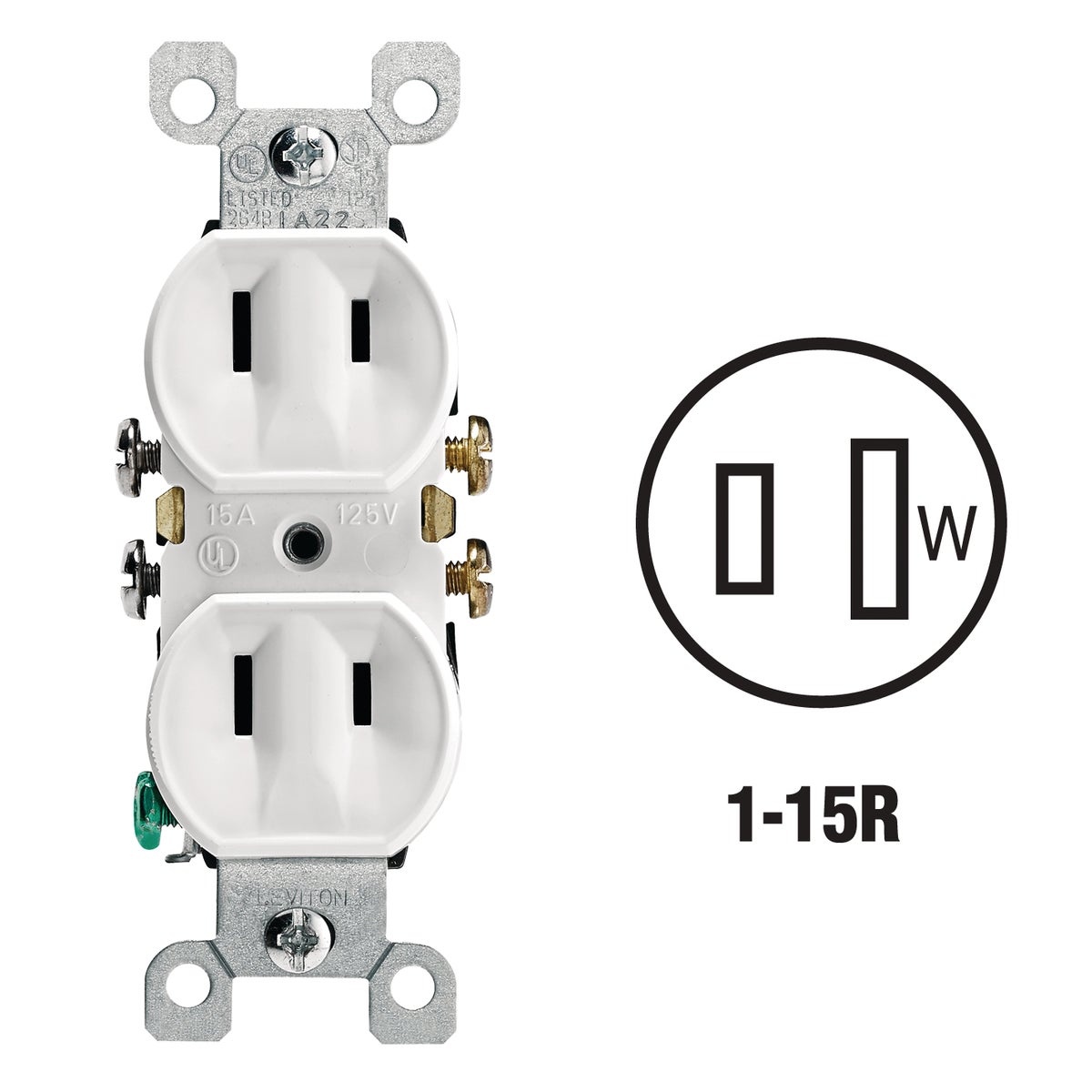 WHT DUPLEX OUTLET