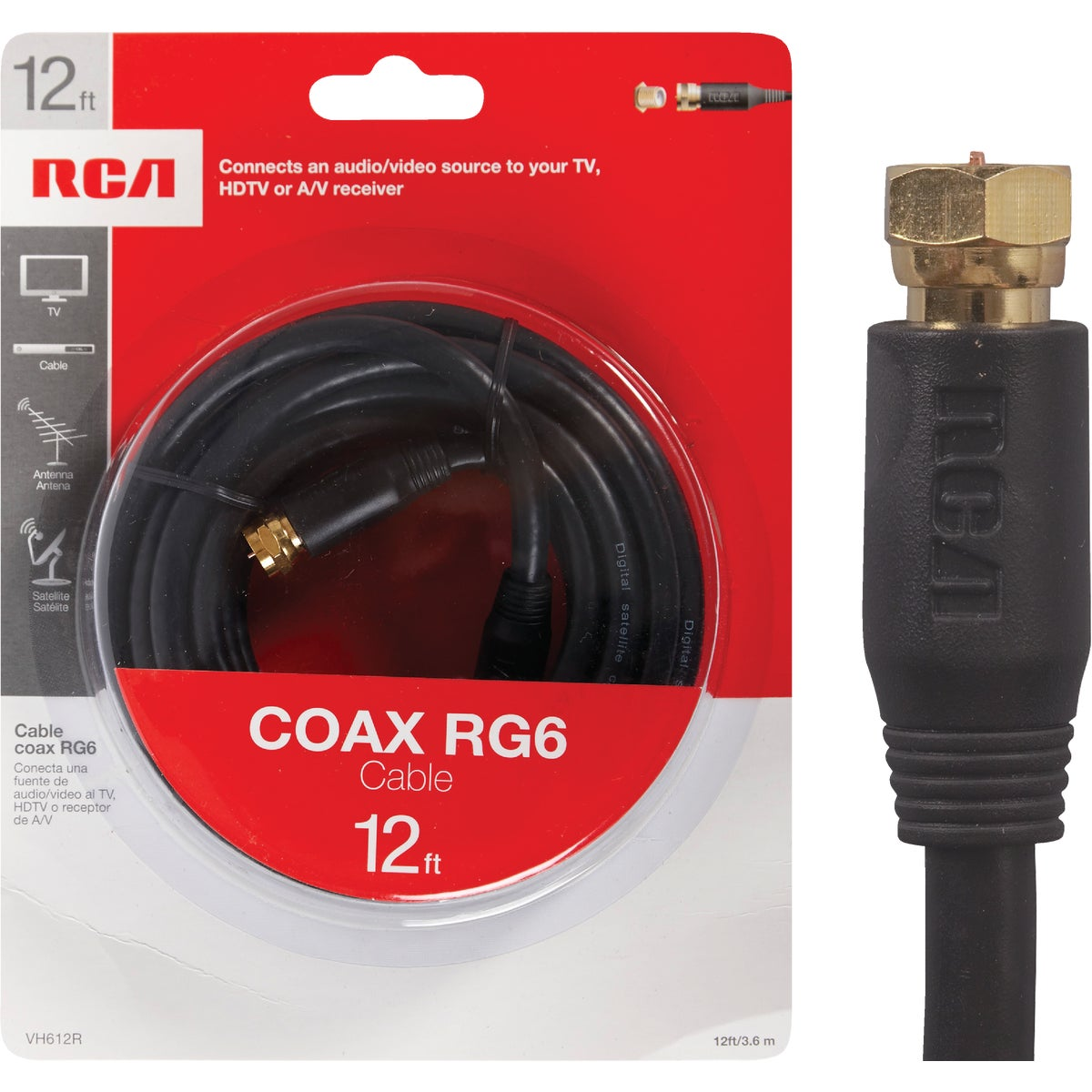 12' RG6 BLK COAX CABLE - VH612RV by Audiovox Accessories