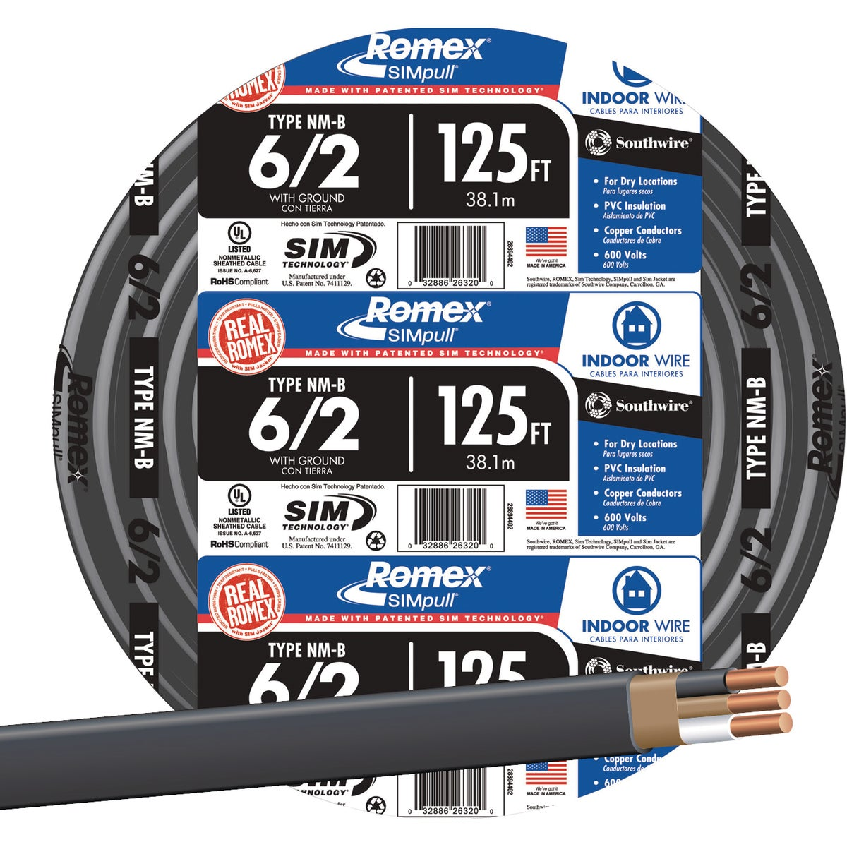 125' 6-2 NMW/G WIRE - 28894402 by Southwire Company