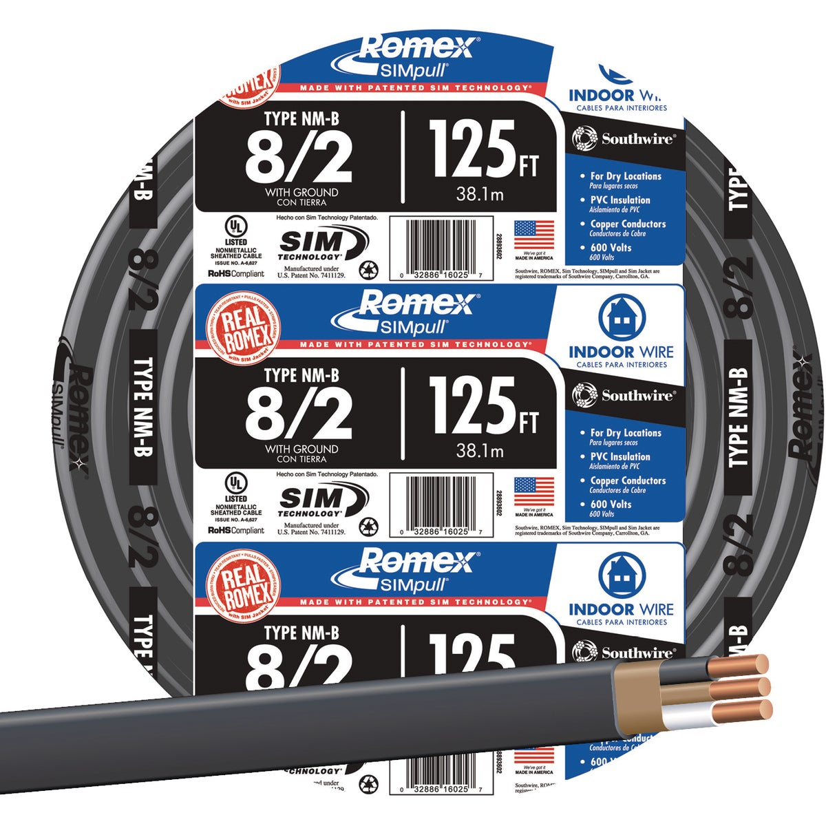 125' 8-2 NMW/G WIRE - 28893602 by Southwire Company