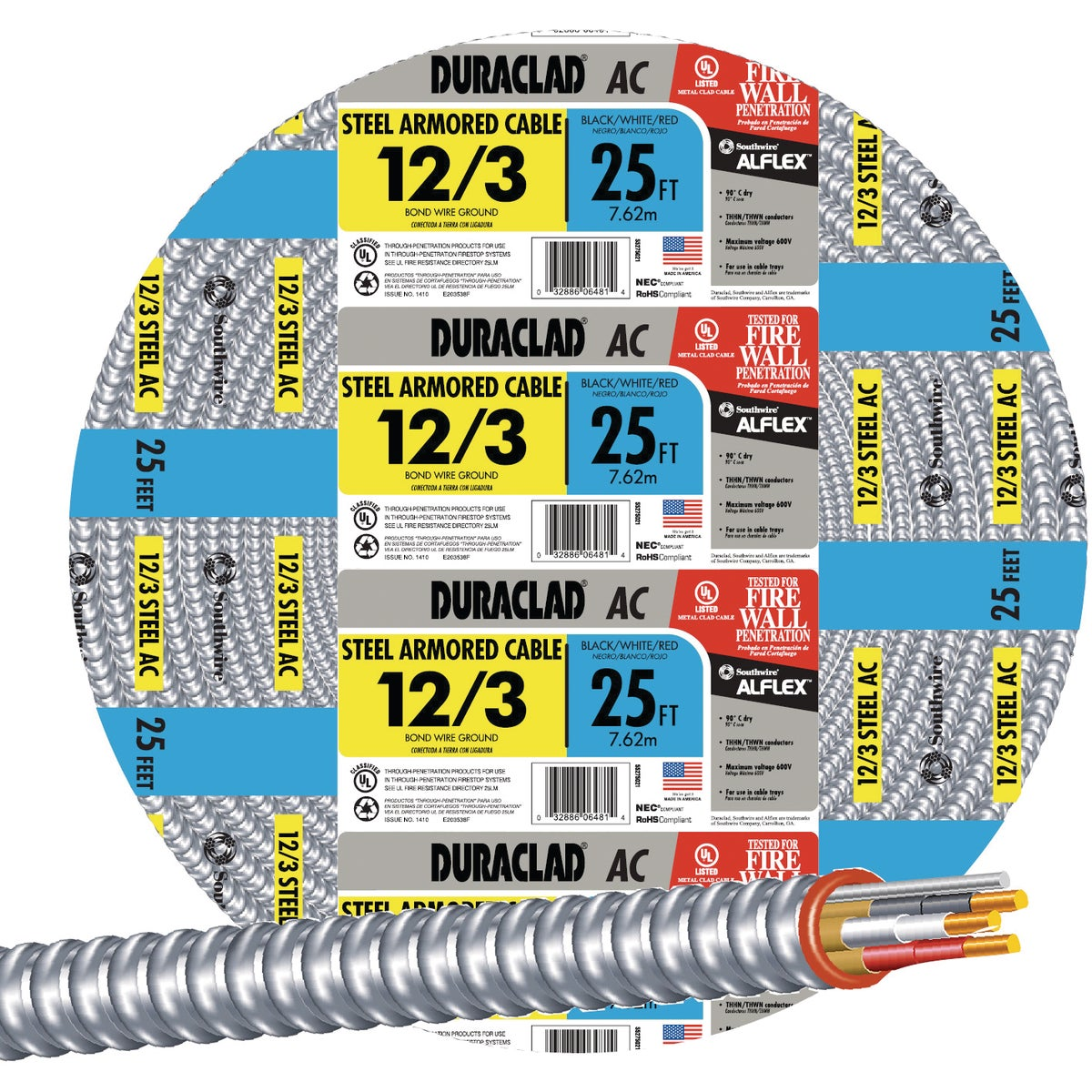 25' 12/3 STL ARMOR CABLE