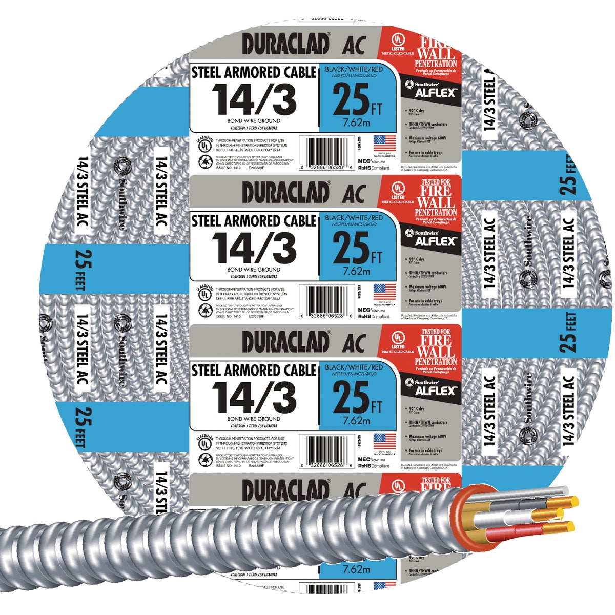 25' 14/3 STL ARMOR CABLE - 55278521 by Southwire Company