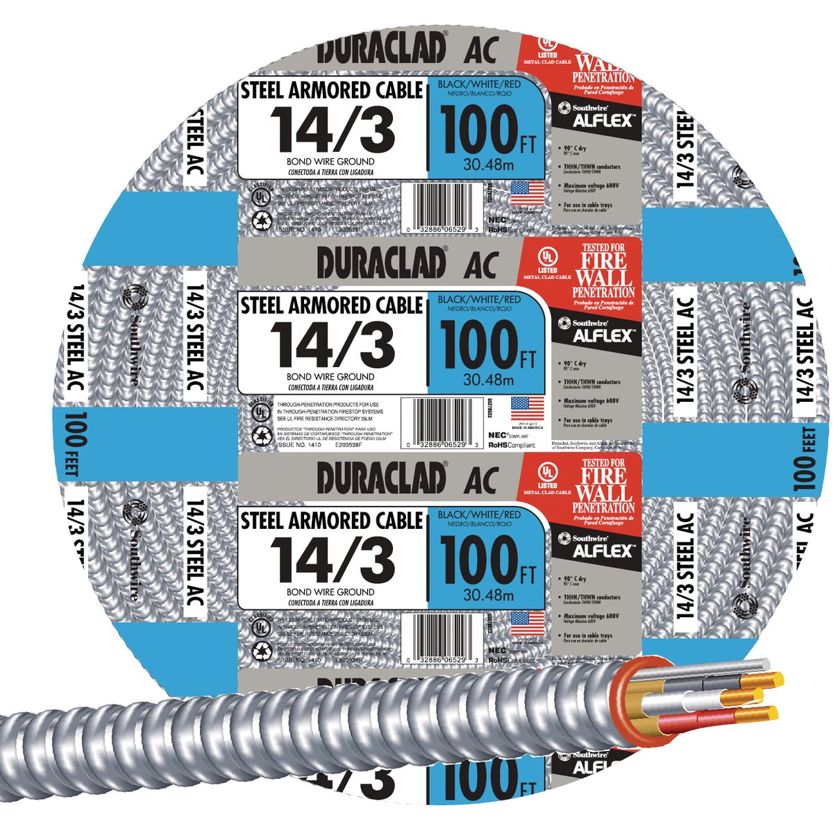 100' 14/3 STL ARMR CABLE - 55278523 by Southwire Company