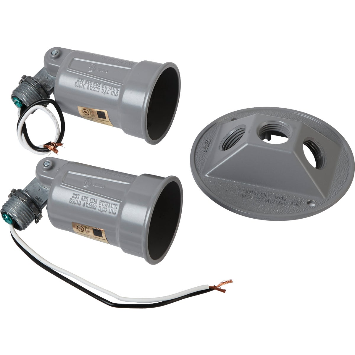 Bell 150W Aluminum 2-Bulb Weatherproof Outdoor Lampholder With Round Cover