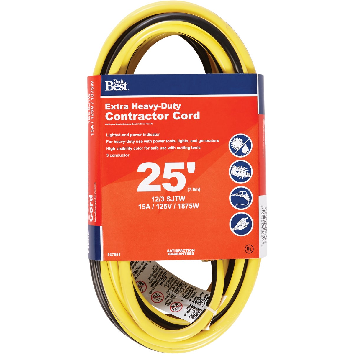 25' 12/3 LIGHTED CORD - 553054 by Coleman Cable Hwg