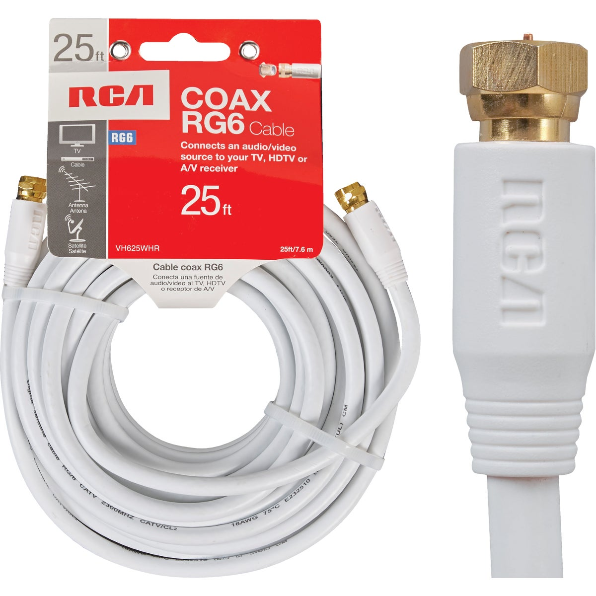 25' RG6 WHT COAX CABLE - VH625WHR by Audiovox Accessories