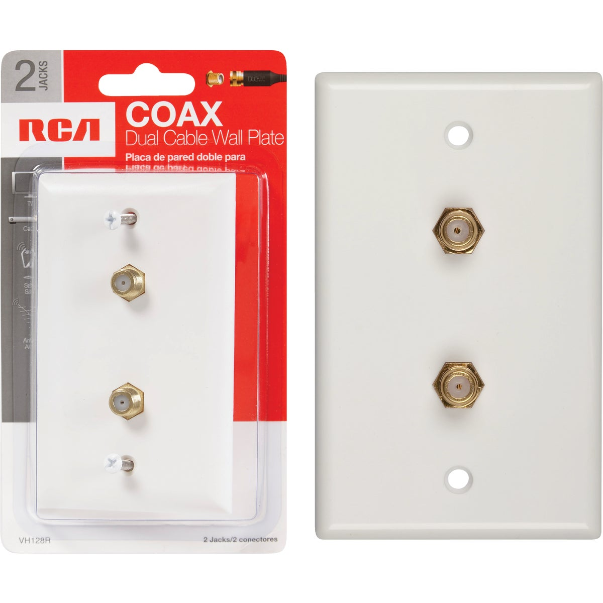 WHT COAXIAL WALL PLATE - VH128R by Audiovox Accessories