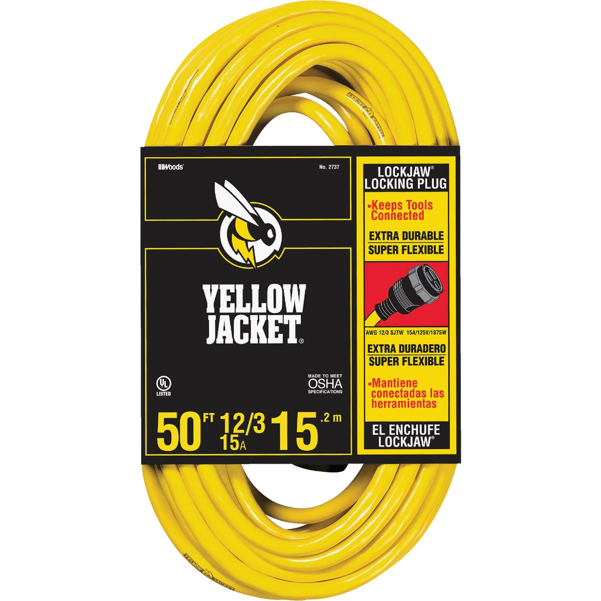 50' 12/3 EXTENSION CORD - 2737 by Woods Wire Coleman